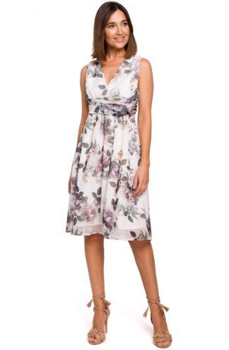 Wizytowa sukienka w kwiaty biała