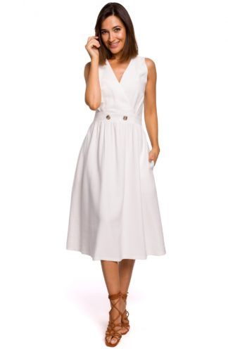 Biznesowa sukienka midi ecru