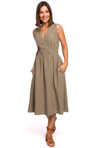Biznesowa sukienka midi khaki