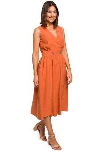 Biznesowa sukienka midi pomarańczowa