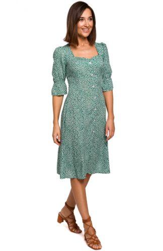 Wizytowa sukienka midi we wzory niebieska