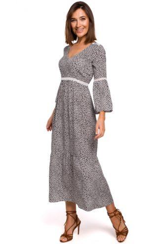 Wizytowa sukienka maxi we wzory czarna
