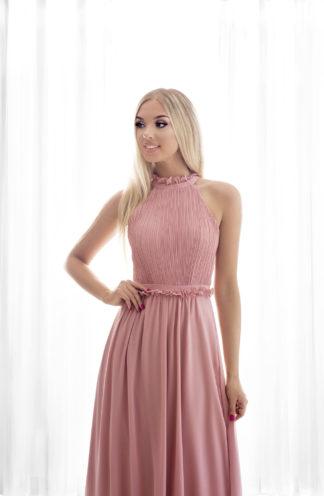Sukienka maxi z dekoltem halter różowa
