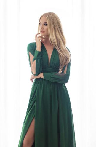 Sukienka maxi z wyciętymi rękawami zieleń