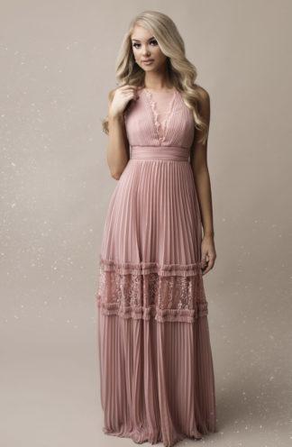 Plisowana sukienka maxi różowa