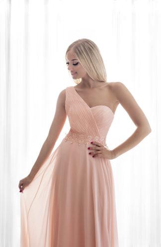 Sukienka maxi na jedno ramię różowa