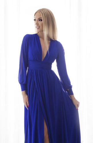Sukienka maxi z wyciętymi rękawami chabrowa