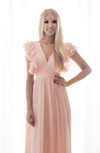 Tiulowa sukienka maxi z rękawami różowa