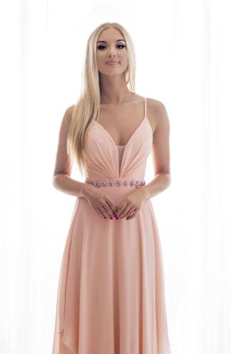 Długa suknia na cienkich ramiączkach różowa