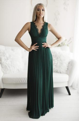Plisowana sukienka maxi z koronką zieleń