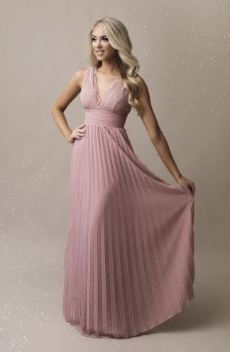 Plisowana sukienka maxi z koronką różowa
