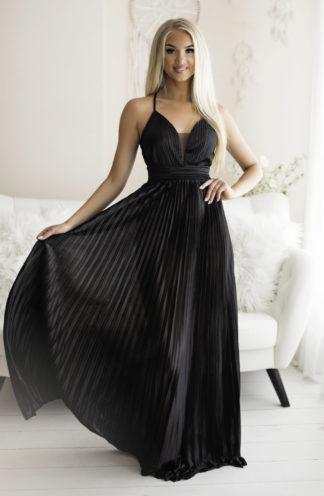 Plisowana sukienka maxi na ramiączkach czarna