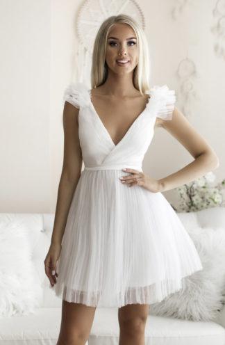 Rozkloszowana sukienka z tiulu biała