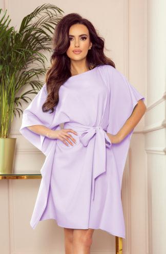 Sukienka nietoperz z rękawami liliowa
