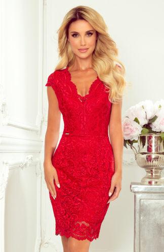 Koronkowa sukienka mini czerwona