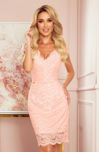 Koronkowa sukienka mini brzoskwiniowa