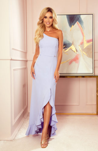 Sukienka maxi na jedno ramię fioletowa