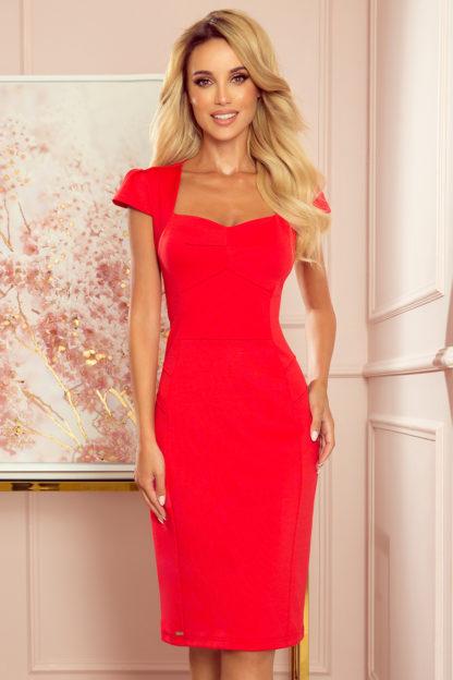 Dopasowana sukienka midi czerwona