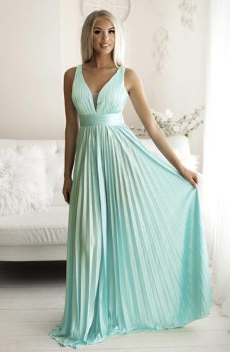 Plisowana długa suknia turkusowa
