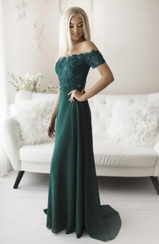 Suknia hiszpanka z koronką zieleń