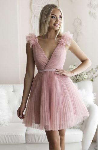 Rozkloszowana sukienka z tiulu różowa