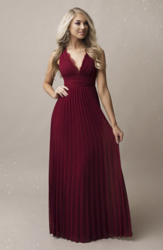 Plisowana sukienka maxi z koronką bordowa