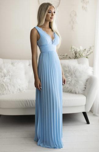Plisowana sukienka maxi z koronką błękitna