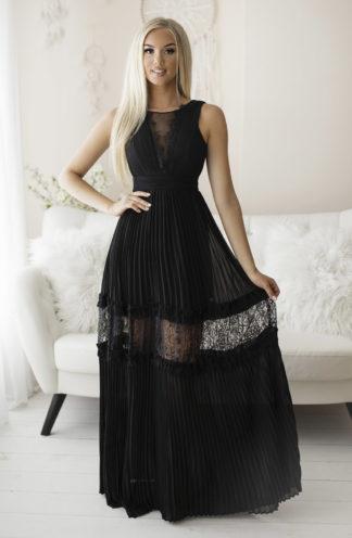 Plisowana sukienka maxi czarna