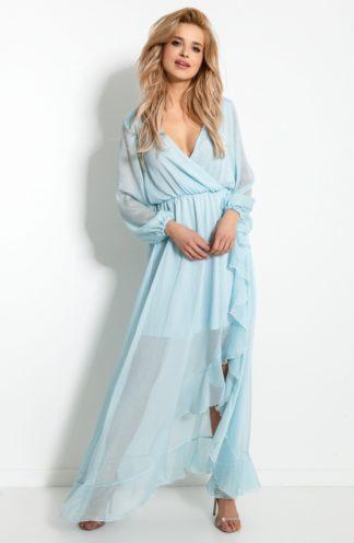 Szyfonowa sukienka maxi z falbanką błękitna