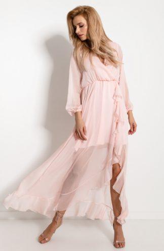 Szyfonowa sukienka maxi z falbanką różowa