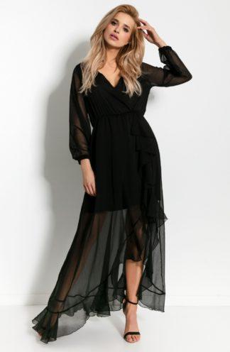 Szyfonowa sukienka maxi z falbanką czarna
