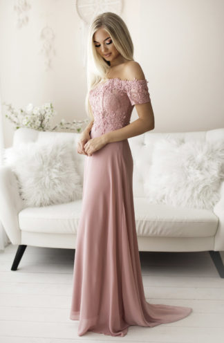 Suknia hiszpanka z koronką różowa