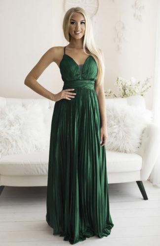 Plisowana sukienka maxi na ramiączkach zieleń