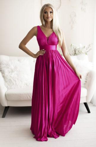 Plisowana długa suknia fuksja