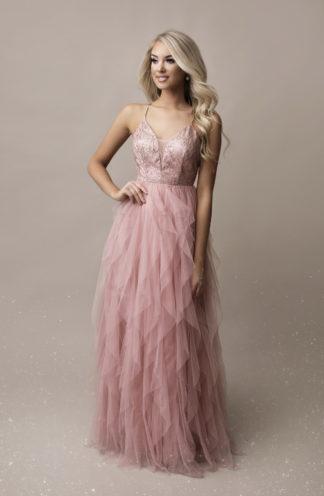 Długa suknia z falban z cekinami różowa