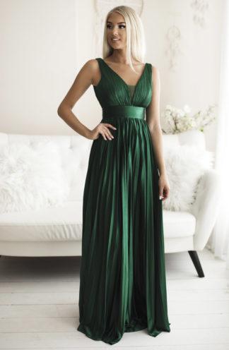 Plisowana długa suknia zieleń