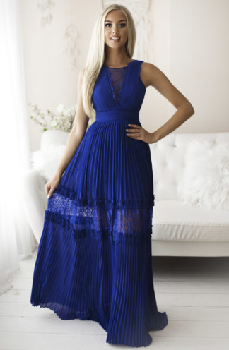 Plisowana sukienka maxi chabrowa