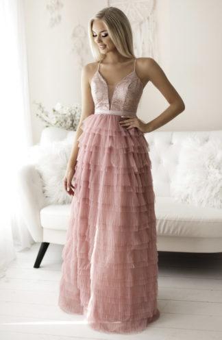 Ekskluzywna suknia z falban różowa