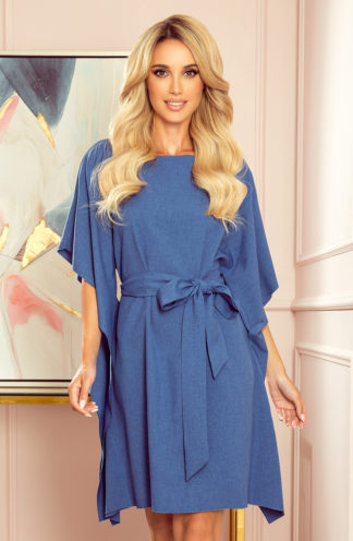 Sukienka nietoperz z rękawami niebieski len