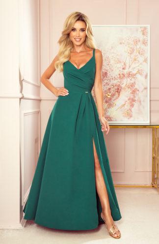 Suknia maxi na wesele na ramiączkach zieleń