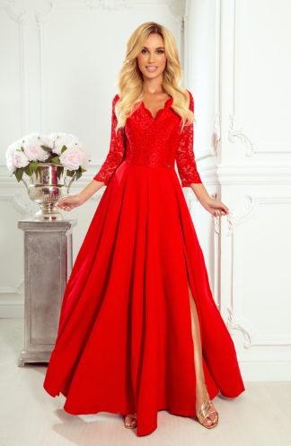 Sukienka maxi z koronkowymi rękawami czerwona