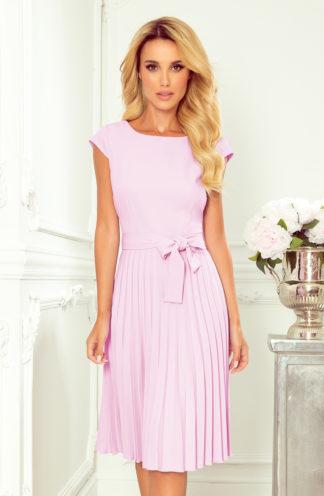 Plisowana sukienka z krótkim rękawem fioletowa
