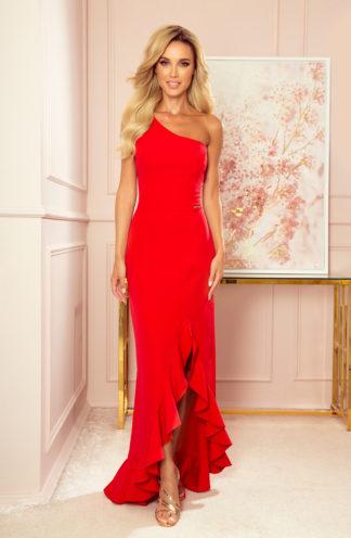 Sukienka maxi na jedno ramię czerwona
