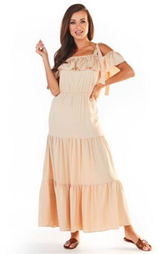 Sukienka hiszpanka z wiązaniami beżowa