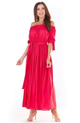 Letnia sukienka hiszpanka maxi różowa