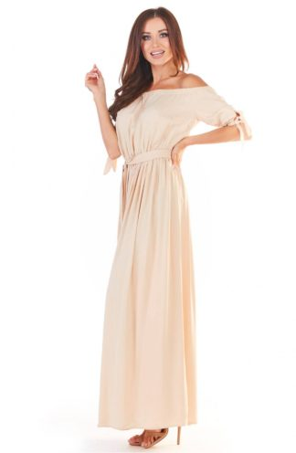 Letnia sukienka hiszpanka maxi beżowa