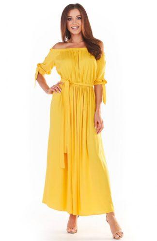 Letnia sukienka hiszpanka maxi żółta