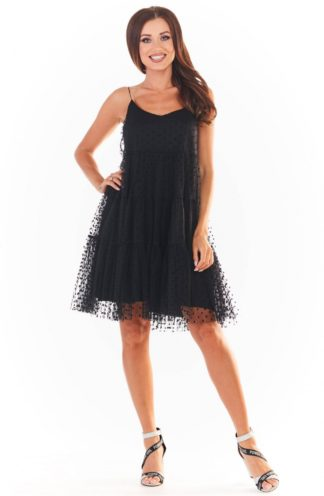 Tiulowa sukienka na ramiączkach czarna