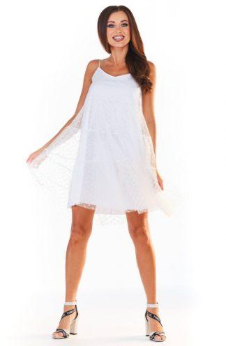 Tiulowa sukienka na ramiączkach biała