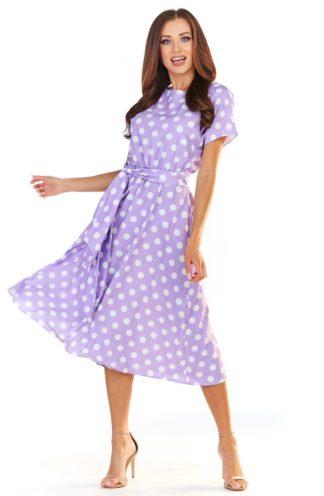 Sukienka midi w groszki fioletowa